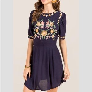 Thea Embroidered Babydoll Shift Dress